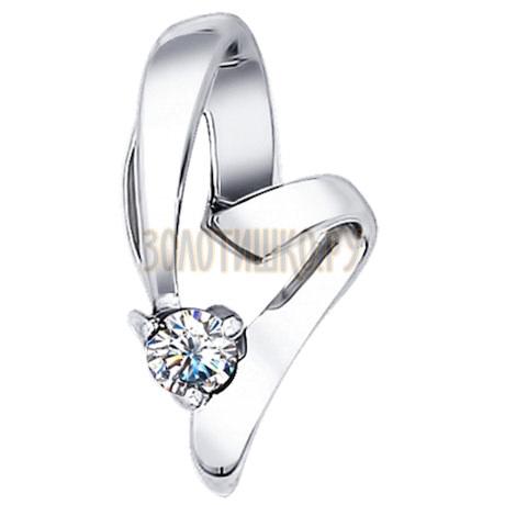 Подвеска из белого золота с бриллиантом 1030202