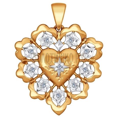 Подвеска из комбинированного золота с бриллиантами 1030529
