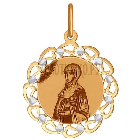 Иконка из золота с алмазной гранью и лазерной обработкой 103397