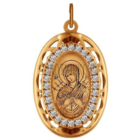 Иконка из золота с лазерной обработкой с фианитами 103495