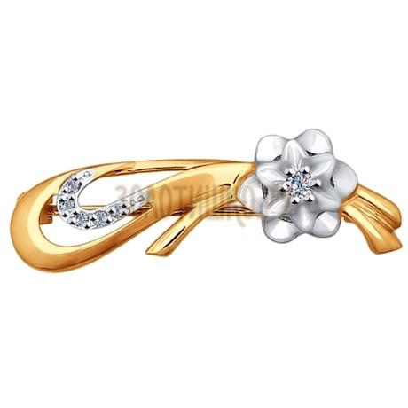 Брошь из комбинированного золота с бриллиантами 1040011