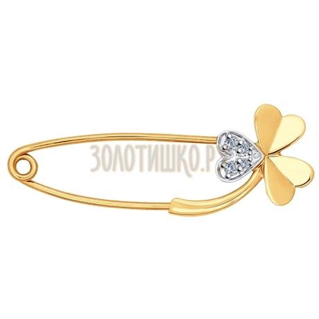 Брошь из золота с бриллиантами 1040016