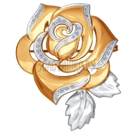 Брошь из золота с бриллиантами в виде розы 1040020