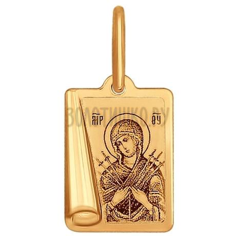 Иконка из золота с лазерной обработкой 104004