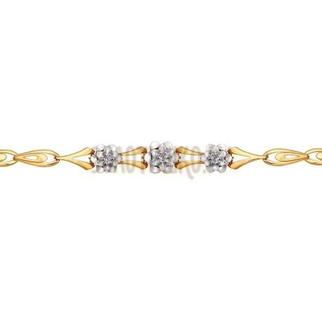 Браслет из комбинированного золота с бриллиантами 1050095