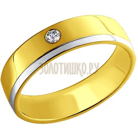 Обручальное кольцо из желтого золота и белого 1110057