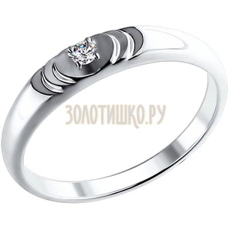 Обручальное кольцо из белого золота с бриллиантом 1110134