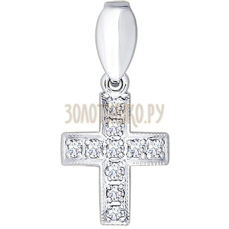 Крест из белого золота с бриллиантами 1120014