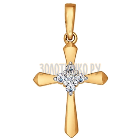 Крест из золота с бриллиантами 1120016