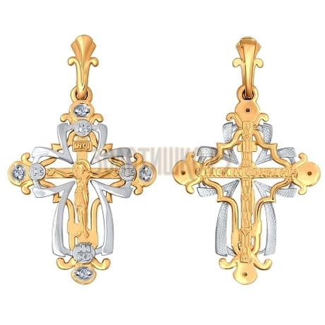 Крест из комбинированного золота с бриллиантами 1120061
