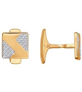 Запонки из золота с фианитами 160035