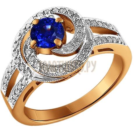 Кольцо из золота с бриллиантами и сапфиром 2010233