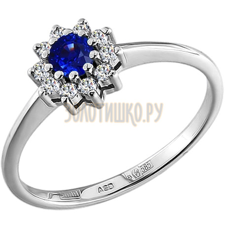 Кольцо из белого золота с бриллиантами и сапфиром 2010267
