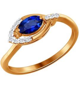 Золотое колечко с бриллиантами и сапфиром 2010364