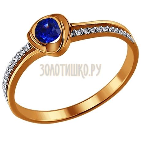 Кольцо из золота с бриллиантами и сапфиром 2010386