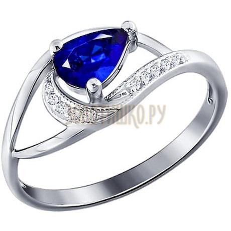Кольцо из белого золота с бриллиантами и сапфиром 2010479