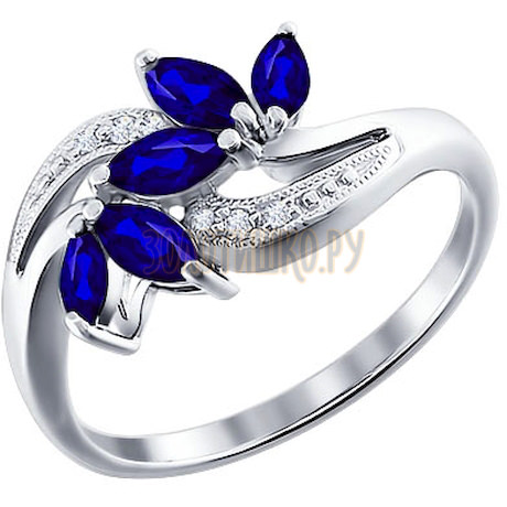 Кольцо из белого золота с бриллиантами и сапфирами 2010613