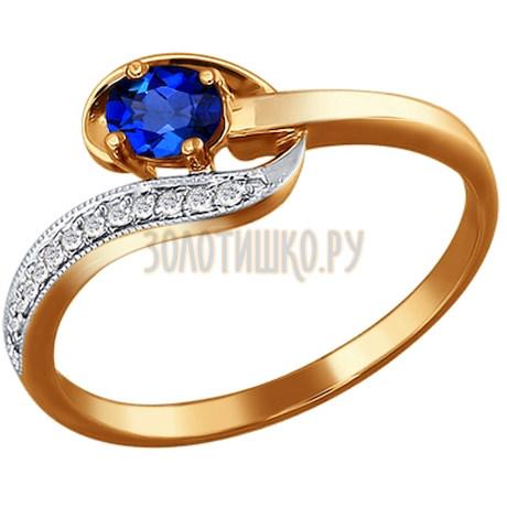 Кольцо из золота с бриллиантами и сапфиром 2010622