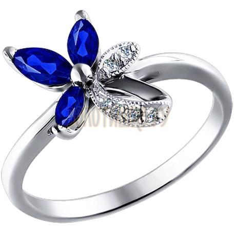 Кольцо из белого золота с бриллиантами и сапфирами 2010665