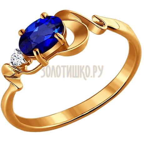 Кольцо из золота с бриллиантом и сапфиром 2010728