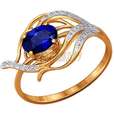 Кольцо из золота с бриллиантами и сапфиром 2010760