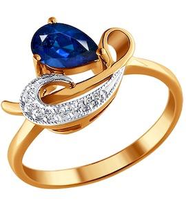 Кольцо из золота с бриллиантами и сапфиром 2010776