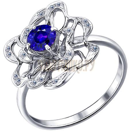 Кольцо из белого золота с бриллиантами и сапфиром 2010828