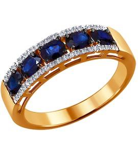 Кольцо из золота с бриллиантами и сапфирами 2011007