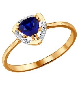 Кольцо из золота с бриллиантами и корундом сапфировым (синт.) 2011017