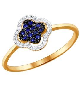 Кольцо из золота с бриллиантами и сапфирами 2011026