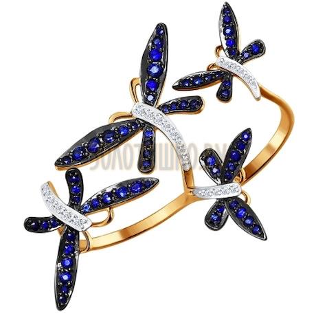 Кольцо на два пальца из золота с бриллиантами и сапфирами 2011033