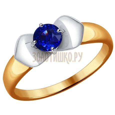 Кольцо из комбинированного золота с сапфиром 2011041