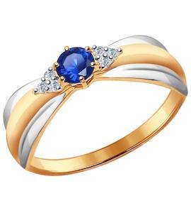 Кольцо из золота с бриллиантами и сапфиром 2011047