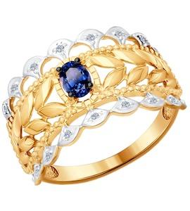 Кольцо из золота с бриллиантами и сапфиром 2011053