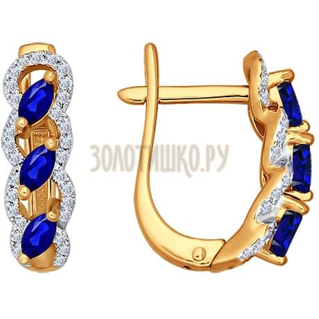 Серьги из золота с бриллиантами и сапфирами 2020572