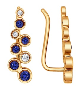 Серьги из золота с бриллиантами и сапфирами 2020830