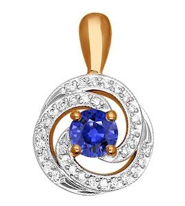 Подвеска из золота с бриллиантами и сапфиром 2030085