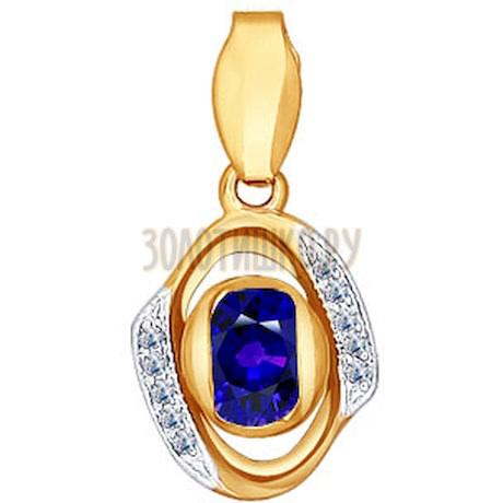 Подвеска из золота с бриллиантами и сапфиром 2030119