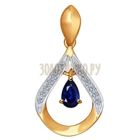 Подвеска из золота с бриллиантами и сапфиром 2030219