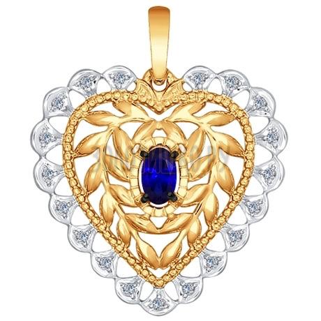 Подвеска из золота с бриллиантами и сапфиром 2030224