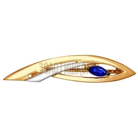 Брошь из золота с сапфиром 2040017