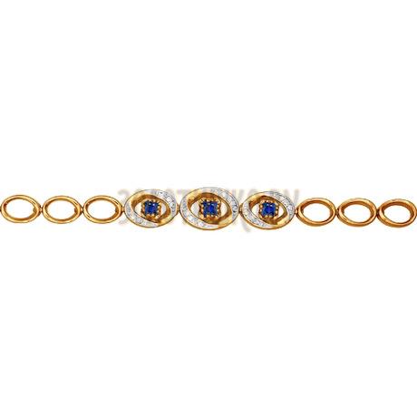 Золотой браслет с тремя сапфирами окруженными бриллиантами 2050012