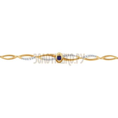 Браслет из золота с бриллиантами и сапфиром 2050033