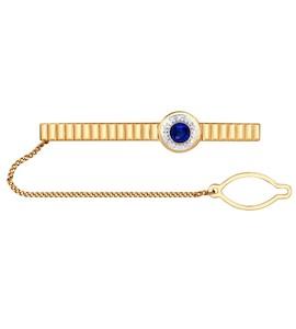 Зажим для галстука из золота с бриллиантами и сапфиром 2090001