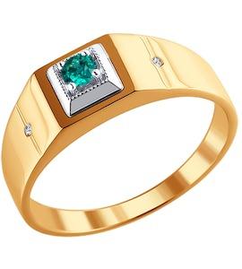 Печатка из комбинированного золота с бриллиантами и изумрудом 3010092