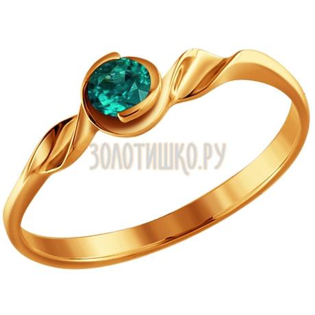 Кольцо из золота 585 пробы с изумрудом 3010245