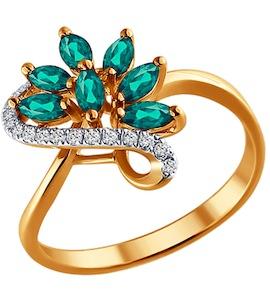 Кольцо из золота с бриллиантами и изумрудами 3010394