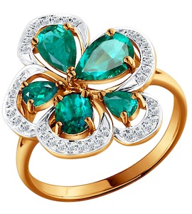 Восхитительное кольцо с изумрудом и бриллиантами 3010459