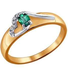 Кольцо из комбинированного золота с бриллиантами и изумрудом 3010523