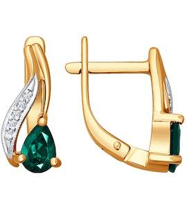 Серьги из золота с бриллиантами и изумрудами 3020177